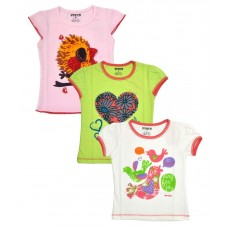 Hunch Multicolour Cotton T Shirts For Girls Pack Of 3