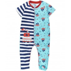 Snuggles Blue & White Printed Cotton Sleepsuit