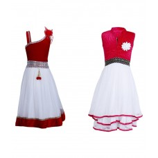 azeis Multicolour Frock - Combo of 2
